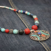 Украшения handmade. Livemaster - original item ETnIKA necklace, Indian pendant coral turquoise lapis Jasper beads ethnic style. Handmade.