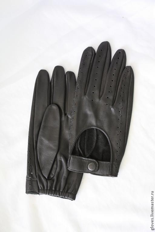 Варежки, митенки, перчатки ручной работы. Ярмарка Мастеров - ручная работа. Купить Перчатки мужские кожаные автомобильные. Handmade. Черный