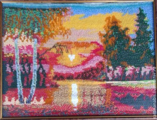 Пейзаж ручной работы. Ярмарка Мастеров - ручная работа. Купить Закат. Handmade. Коралловый, закат солнца, вышивка бисером