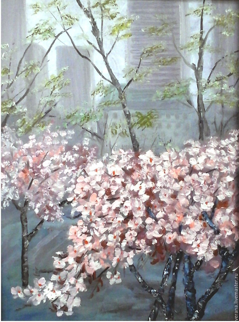 Landscapes Handmade Livemaster Oil Painting The Cherry Blossoms