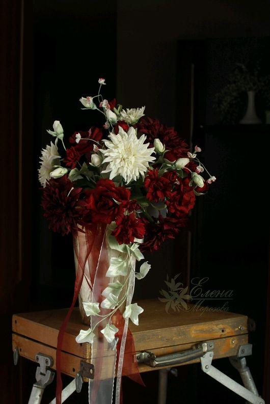 Свадебные украшения ручной работы. Ярмарка Мастеров - ручная работа. Купить Свадебный букет, бутоньерка и украшение для невесты из шелка Страстный. Handmade.
