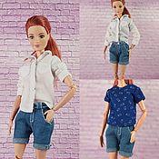 Куклы и игрушки handmade. Livemaster - original item Set for Blythe and Barbie Shirt Shorts T-shirt Socks. Handmade.
