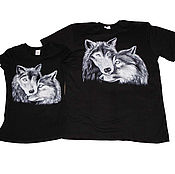Одежда handmade. Livemaster - original item Paired t-shirts for lovers painted Wolves. Handmade.
