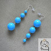 Украшения handmade. Livemaster - original item HEATH long Earrings blue round beads azure blue. Handmade.