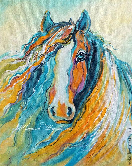 """Животные ручной работы. Ярмарка Мастеров - ручная работа. Купить """"Вместе с Ветром"""" картина с лошадью (холст, масло). Handmade."""