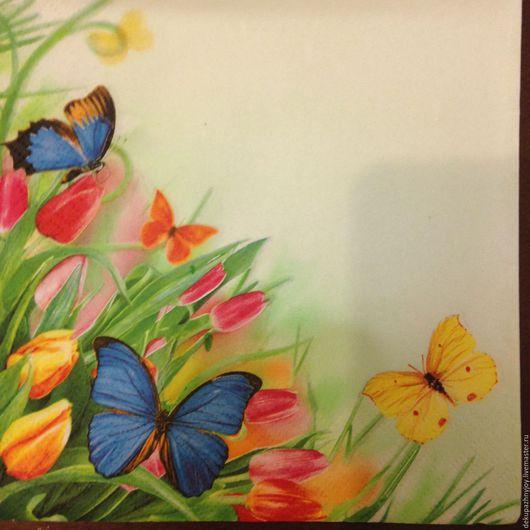 Салфетка для декупажа - Бабочки летние и цветы Декупажная радость