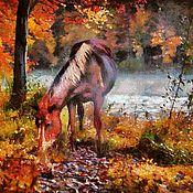 Картины и панно ручной работы. Ярмарка Мастеров - ручная работа Лошадь и осень 65х40см, пейзаж, живопись. Handmade.