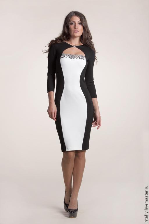 Черно-белое платье для работы