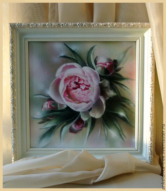 """Картины цветов ручной работы. Ярмарка Мастеров - ручная работа. Купить """"Пион"""". Handmade. Бледно-розовый, пион, светло-зеленый"""