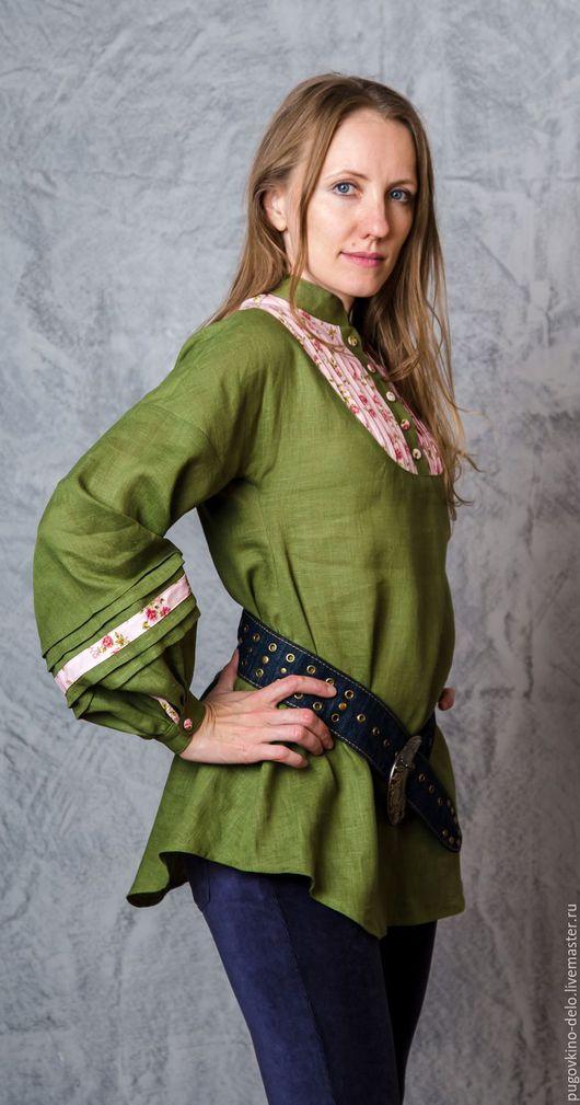 Блузки ручной работы. Ярмарка Мастеров - ручная работа. Купить Льняная туника (лесная зелень + мелкие розы). Handmade.
