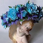 Украшения handmade. Livemaster - original item The rim design of blue roses with purple berries and flowers. Handmade.