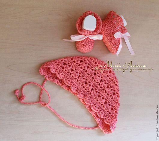 """Для новорожденных, ручной работы. Ярмарка Мастеров - ручная работа. Купить Чепчик и пинетки """"Нежность"""". Handmade. Розовый, комплект для девочки"""