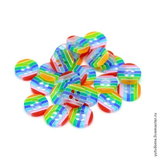 Шитье ручной работы. Ярмарка Мастеров - ручная работа. Купить 0629 Пуговицы пластиковые радуга 13 мм. Handmade. Пуговицы