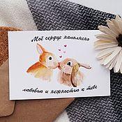 """Открытки handmade. Livemaster - original item Авторская акварельная открытка  """"Зайки"""". Handmade."""