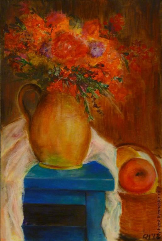 """Картины цветов ручной работы. Ярмарка Мастеров - ручная работа. Купить Натюрморт """"С  цветами, яблоками и голубой табуреткой"""". Handmade."""