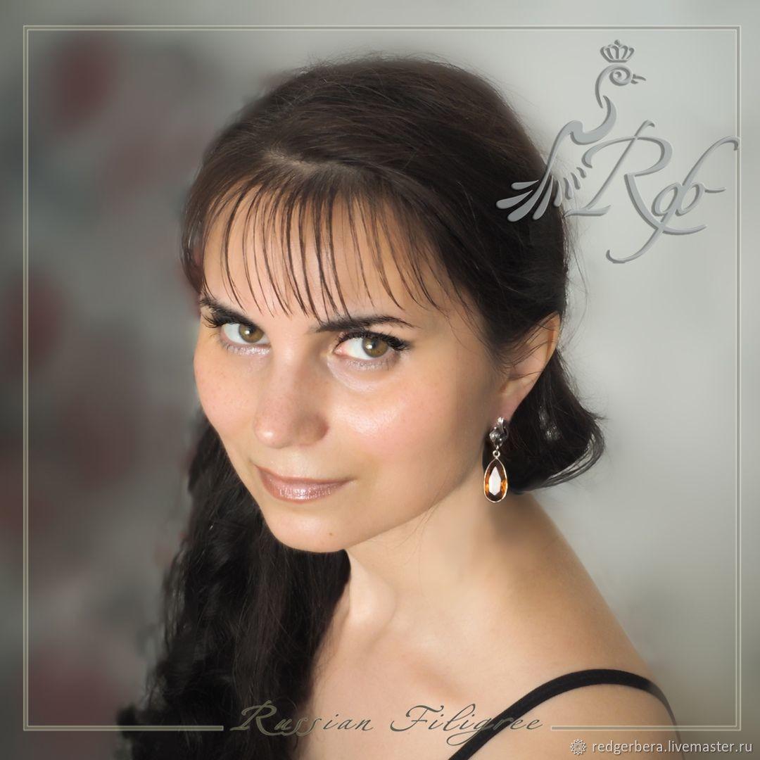 Earrings 'Summer' - citrine, silver 925, Earrings, Kostroma,  Фото №1