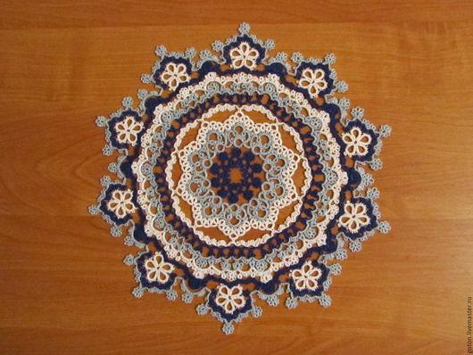 Текстиль, ковры ручной работы. Ярмарка Мастеров - ручная работа. Купить Салфетка круглая синяя диаметром 30 см в технике фриволите. Handmade.