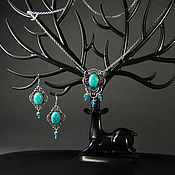 Украшения handmade. Livemaster - original item Set with turquoise and aquamarine Turkmenistan