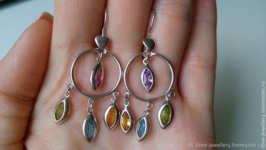 HEARTBREAKER - earrings-pendants with semi-precious stones, Earrings, Moscow,  Фото №1