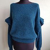 Одежда handmade. Livemaster - original item Feminine mohair petrolle blouse with Alpaca. Handmade.