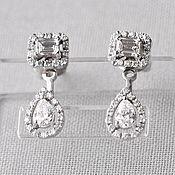Украшения handmade. Livemaster - original item Copy of White gold earrings with diamonds. Handmade.