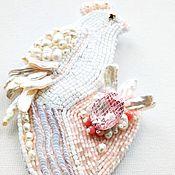 Украшения handmade. Livemaster - original item Brooch with pearl coral mosaic Bird with heart. Handmade.