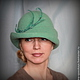 """Шляпы ручной работы. Ярмарка Мастеров - ручная работа. Купить Дамская шляпка """"Серебряное копытце"""". Handmade. Мятный, купить шляпу"""