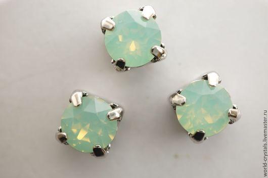 Кристаллы № 294 Chrysolite Opal.  Ювелирные касты в родии.