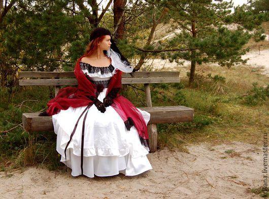 Одежда и аксессуары ручной работы. Ярмарка Мастеров - ручная работа. Купить Платье свадебное, белое с черным кружевом. Handmade. Комбинированный
