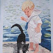 """Картины и панно ручной работы. Ярмарка Мастеров - ручная работа Вышивка крестом """"Мальчик с котом"""". Handmade."""