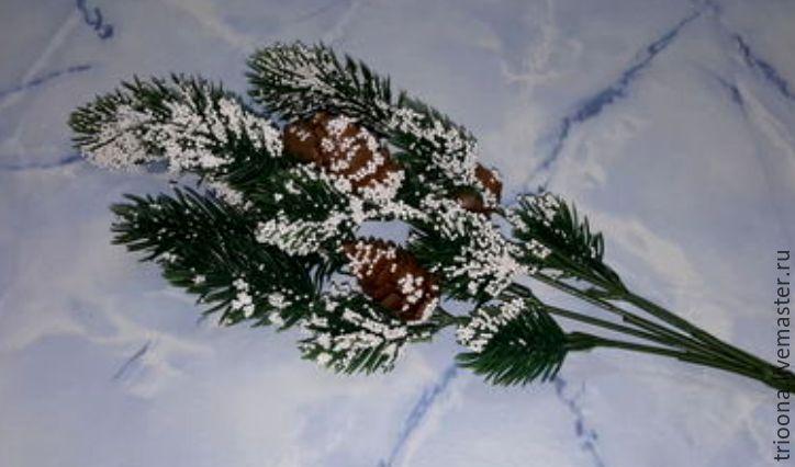 Веточка еловая с шишками в снегу  /101/, Цветы, Москва, Фото №1