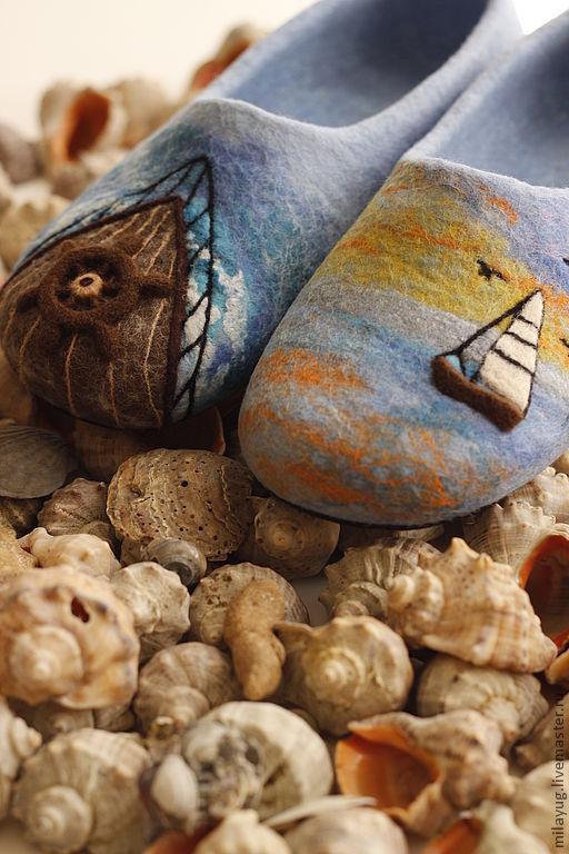 """Обувь ручной работы. Ярмарка Мастеров - ручная работа. Купить """"Путешествие"""" валяные тапочки. Handmade. Путешествие, синий, волокна вискозы"""