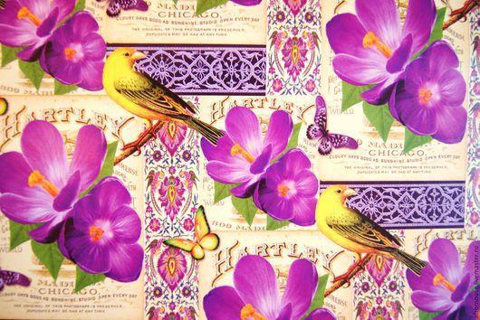 бумага упаковочная `Цветы и птички` лист 70х100 см