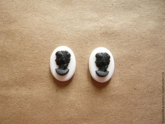 Для украшений ручной работы. Ярмарка Мастеров - ручная работа. Купить Камея Дама черная на белом 13х18мм (стекло) 1шт.. Handmade.