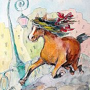 Картины и панно handmade. Livemaster - original item Happy Horse poster painting Reproduction. Handmade.