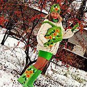 Русский стиль handmade. Livemaster - original item Kit felted-felted boots, hat, mittens and handbag. Handmade.