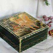 Сувениры и подарки handmade. Livemaster - original item Christmas Angel Jewelry Box Decoupage Green. Handmade.