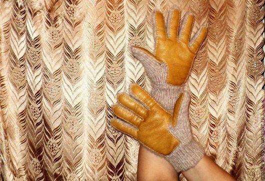 """Варежки, митенки, перчатки ручной работы. Ярмарка Мастеров - ручная работа. Купить Перчатки с кожаной накладкой """"Stylish"""". Handmade. Перчатки"""