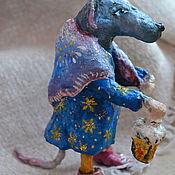 """Елочные игрушки ручной работы. Ярмарка Мастеров - ручная работа Ватная игрушка """" Мышка с фонарем """". Handmade."""