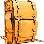 """Сумки и аксессуары handmade. Livemaster - original item Мужской кожаный рюкзак """"Легион"""" желтый. Handmade."""