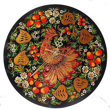 Для дома и интерьера ручной работы. Ярмарка Мастеров - ручная работа Настенные часы картина панно ручной работы с хохломской росписью. Handmade.