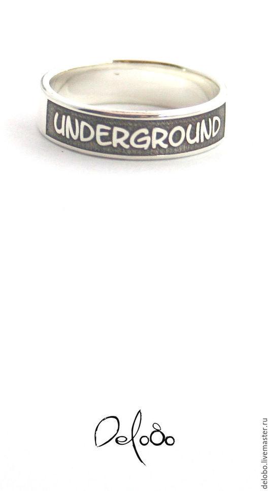 Кольца ручной работы. Ярмарка Мастеров - ручная работа. Купить Underground кольцо с гравировкой(серебро 925). Handmade. Чёрно-белый