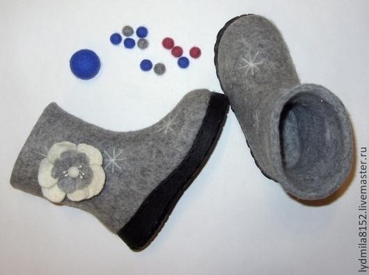 """Обувь ручной работы. Ярмарка Мастеров - ручная работа. Купить Валенки детские """" Снег идет"""". Handmade. Серый"""
