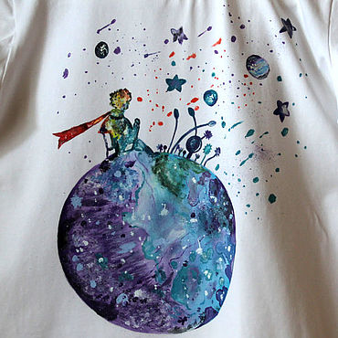 Clothing handmade. Livemaster - original item T-shirt Little Prince watercolor painting hand painted. Handmade.