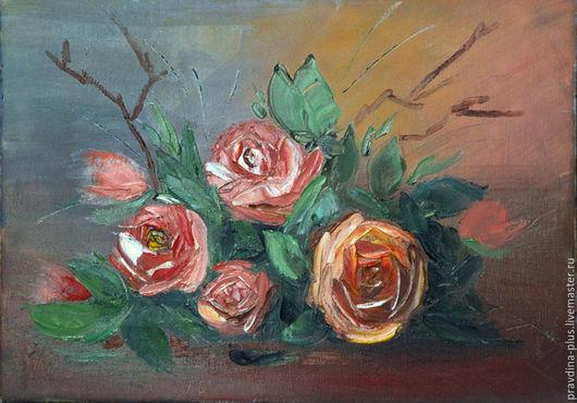 """Картины цветов ручной работы. Ярмарка Мастеров - ручная работа. Купить Картина маслом """"Коралловые розы"""". Handmade. Розы"""