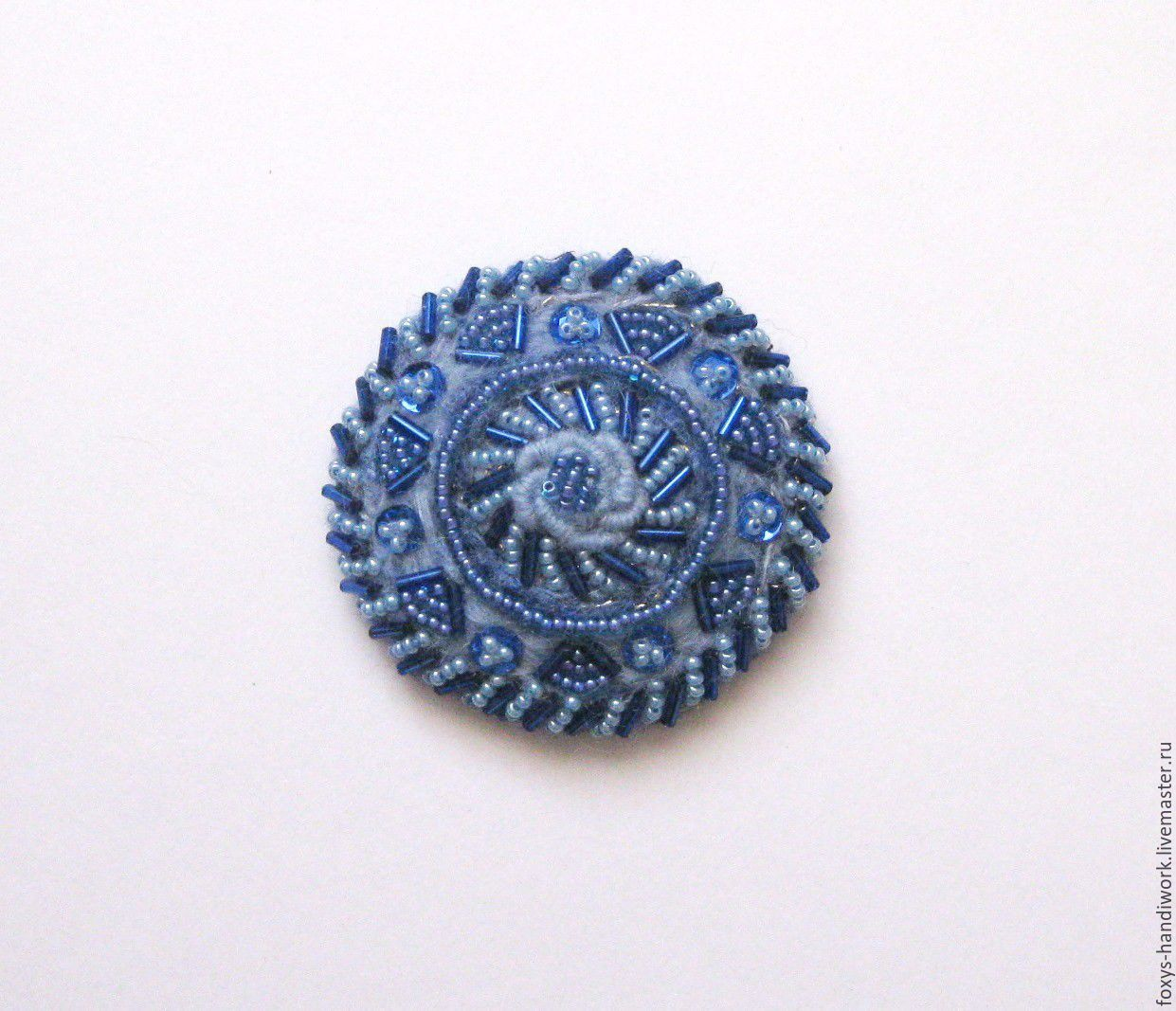 Brooch-round wool woven with embroidery beads blue/blue, Brooches, Tula,  Фото №1