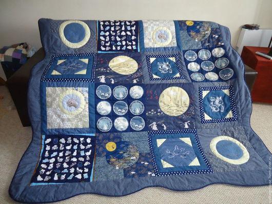 """Текстиль, ковры ручной работы. Ярмарка Мастеров - ручная работа. Купить Одеяло """"Лунные кролики"""". Handmade. Тёмно-синий, тинсулейт"""