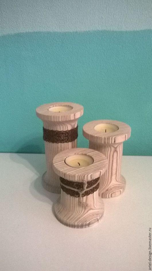 Подсвечники ручной работы. Ярмарка Мастеров - ручная работа. Купить Подсвечник деревянный. Handmade. Комбинированный, фанера, подарок девушке, дерево