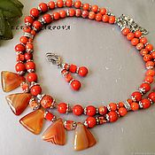Jewelry Sets handmade. Livemaster - original item Set Orange. jasper agate jadeite buy necklace earrings. Handmade.