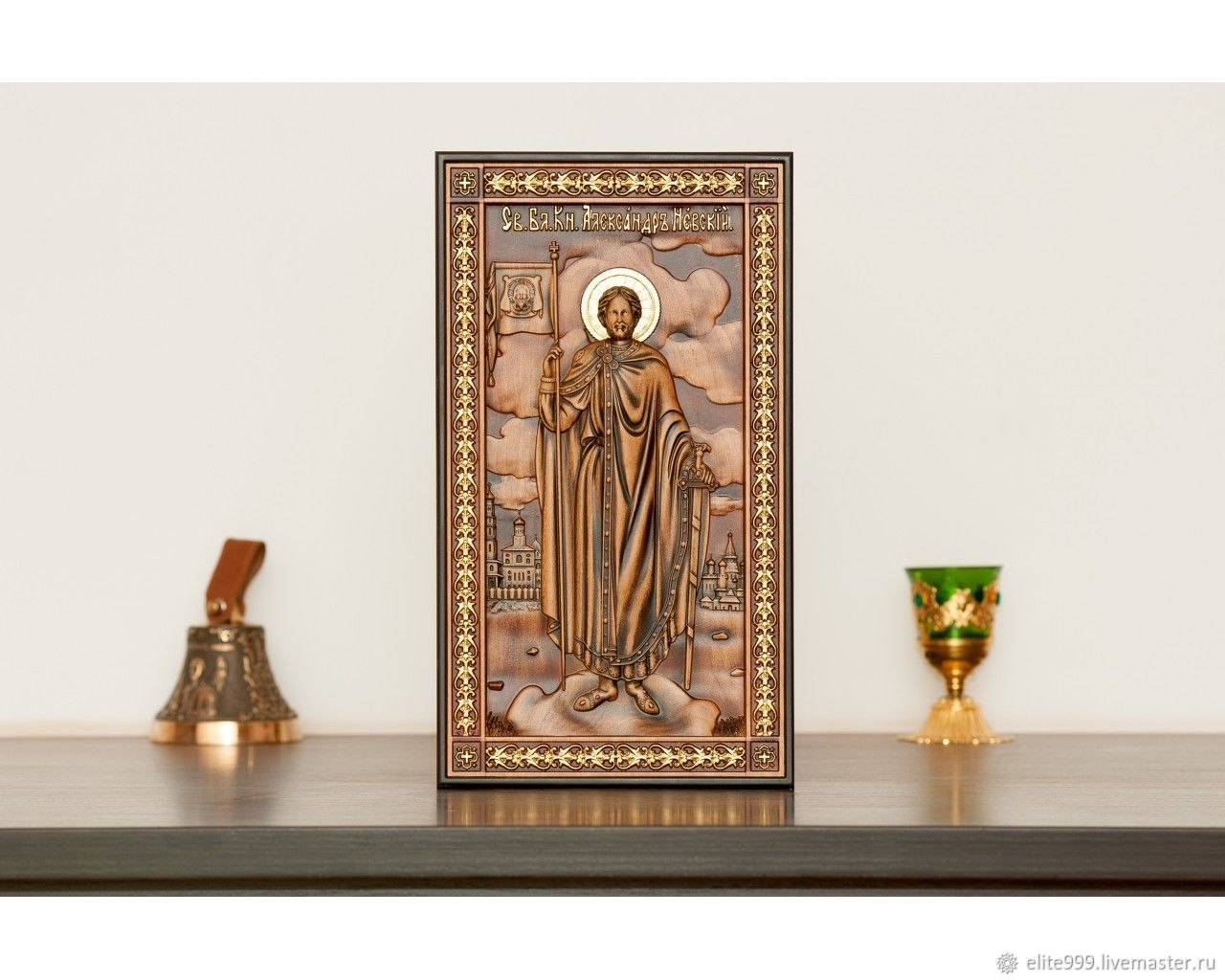 Icon Paintings handmade. Livemaster - handmade. Buy Carved icon Alexander Nevsky.Gift, picture, nevsky